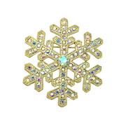 Gorgeous Rhinestone Crystal Snowflake Pin Brooch - AB