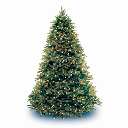 National Tree Pre-Lit 9 Feel-Real Jersey Fraser Medium Fir Hinged Artificial Christmas Tree with 1500 Clear Lights
