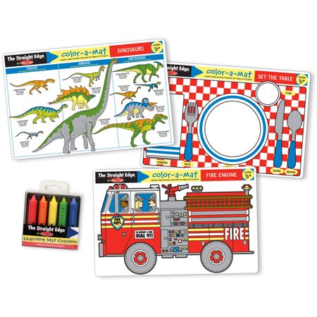 Melissa & Doug Fun Themes Placemat Set: Set the Table, Fire Engine, -