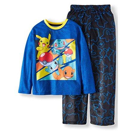 Pikachu Fleece 2 Piece Boys Kids Children Pajama Sleepwear Sleep Set Blue