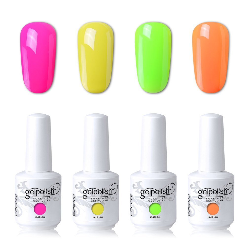 Elite99 Soak Off Gel Polish Lacquer UV LED Nail Art Manicure Kit 4 Colors Set LM-C151 + Free Gift (20pcs Gel Remover Wraps)