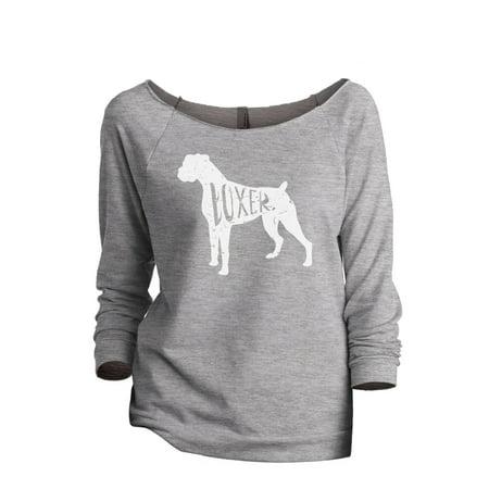 Thread Tank Boxer Dog Silhouette Women's Slouchy 3/4 Sleeves Raglan Sweatshirt Sport Grey Small Designer Line Silhouette Open Top