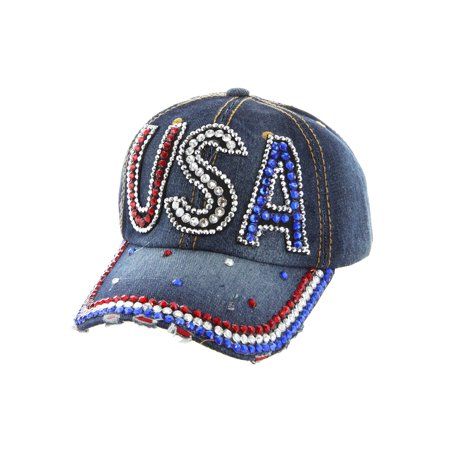 Womens USA Glitter Denim Adjustable Baseball Cap - Uta Caps