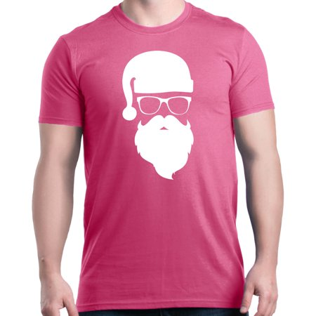 Shop4Ever Men's Hipster Santa with Glasses Christmas Graphic T-shirt