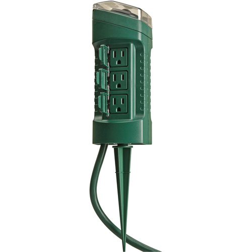 Yard Master 13547WD 6-Outlet Power Stake Timer with Light Sensor ,Green, 6-Foot