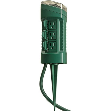 Woods 13547 Outdoor Yard Stake with Photocell Built-In Timer and 6- Foot Cord, Automatic Lighting with Adjustable Settings, Ideal for Holiday Outdoor Lighting, 125-volt / 13-amp, 1625-watt, Green 7 Watt Tier Light