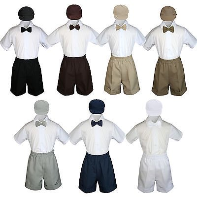 Boys Toddler Formal Vest Shorts Suits Black Navy Brown Bow Tie Hat 4pc Set S-4T - Black Boys Suits