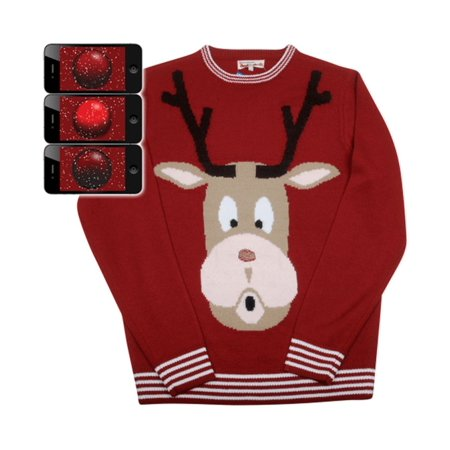 Everyday Is Halloween Sweater (Red Nosed Reindeer Rudolph Mens Ugly Christmas Sweater medium)