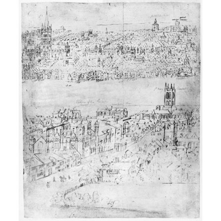 England London C1550 Ndetail From Anthon Van Den Wyngaerdes View Of London C1543 1550 Showing Southwark With Its High Street In The Foreground And London On The North Side Of The Thames River With St