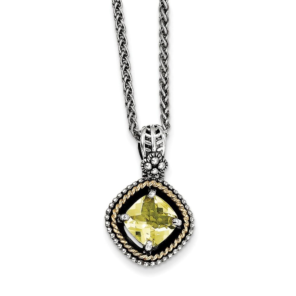 SS 14k Yellow Gold 1.9 Lemon Quartz 18in Vintage Style Necklace 1.9ct