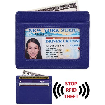 Credit Card Holder Genuine Leather Slim & Thin Pocket Wallet Minimalist Wallet Money Clip RFID Blocking ()