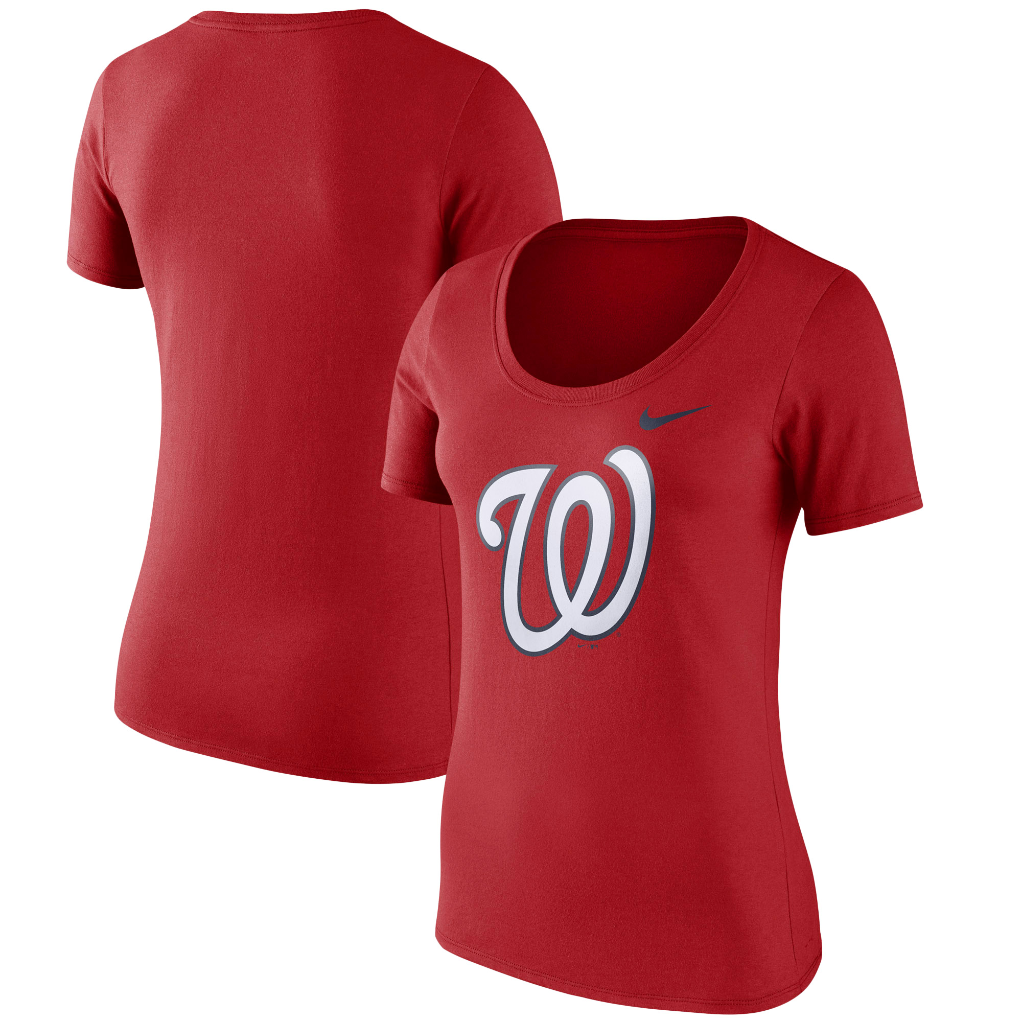 Women's Nike Red Washington Nationals Logo Scoop Neck T-Shirt