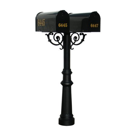 The Hanford Mailbox Post System Twin Post with Fluted Base #8 / E1 Economy Rural Mailboxes / Scroll Supports
