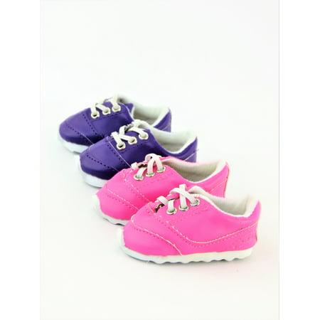 2 Pair No Tie Sneakers - Hot pink & Purple - Fits 18