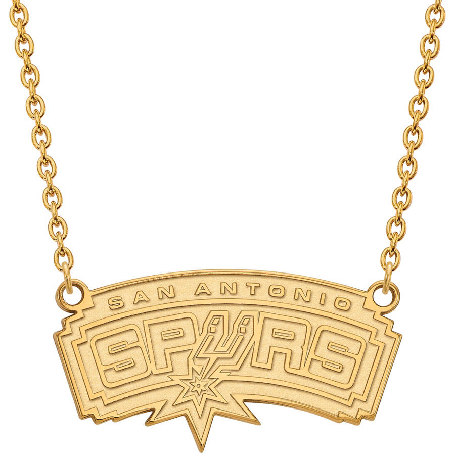 NBA San Antonio Spurs 10kt Yellow Gold Large Pendant with Necklace