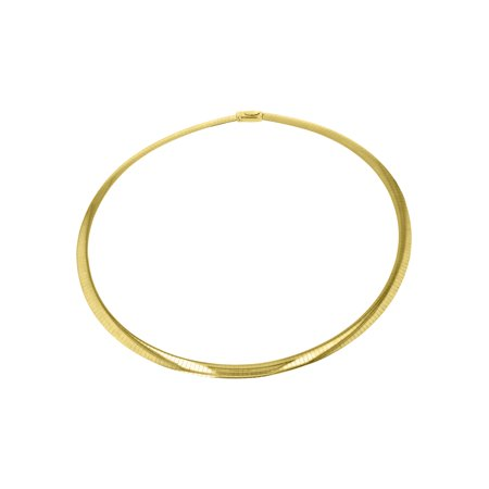 14kt Yellow Gold and Sterling Silver 18-inch Italian Reversible Omega Necklace (6mm wide)