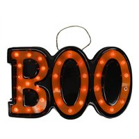 20 lighted black and orange boo hanging halloween decoration