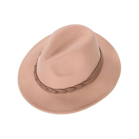 Women's Wide Brim Wool Felt Fedora Hat with Braided Band Camel](Camel Hat)