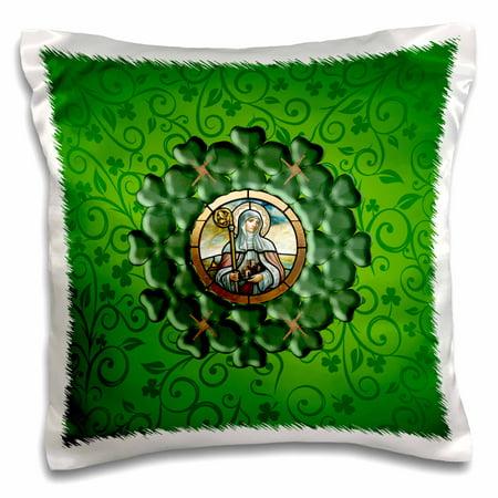 3dRose Saint Brigid, Round Shamrock, Saint Brigid Cross Frame, Green, Brown - Pillow Case, 16 by 16-inch