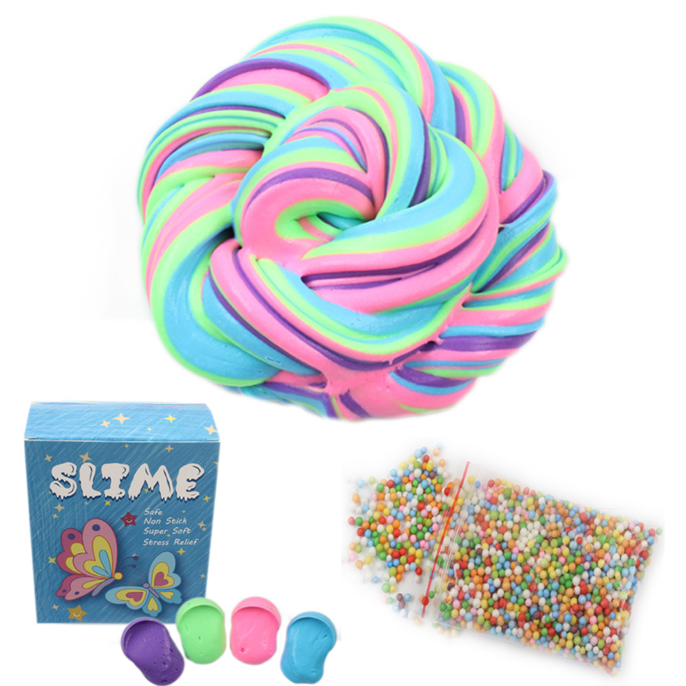 Mosunx Slime Supplie Fluffy Floam Slime Scented Stress Relief Toy Super Soft Non Sticky