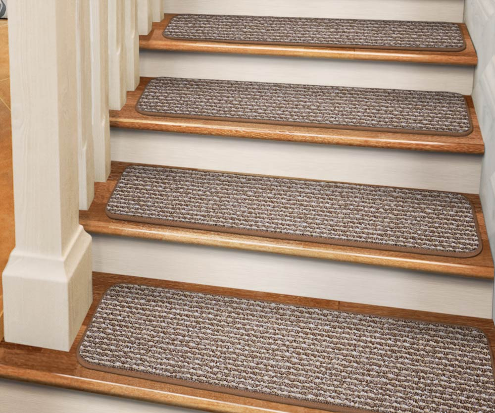 Set Of 12 Tape Down Carpet Stair Treads   Praline Brown   8 In.