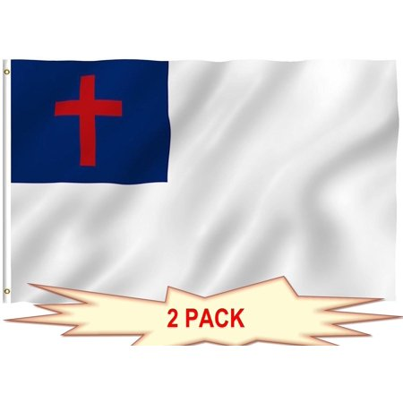G128 - TWO PACK of Christian Flag 3x5 ft Christian Cross Religious Church Flag Christianity Banner Printed 150D Quality Polyester with Brass Grommets