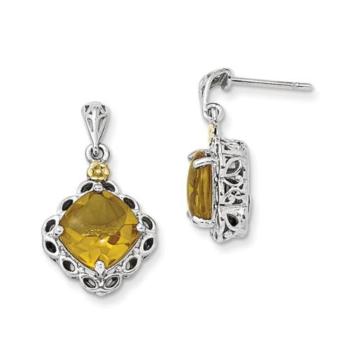 Sterling Silver w/ 14k Yellow Gold Whiskey Quartz Vintage Style Earrings (0.7IN x 0.5IN )