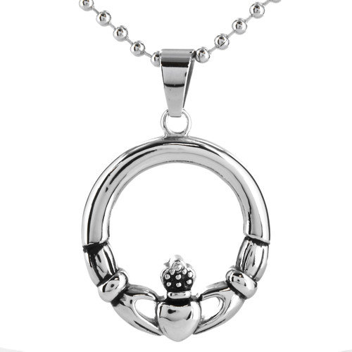 West Coast Jewelry Stainless Steel Claddagh Circle Necklace