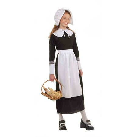 Pilgrim Costume Girl (Pilgrim Girl Thanksgiving School Project Costume Kit)
