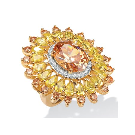 19.48 TCW Oval-Cut Champagne, Canary Yellow and White Cubic Zirconia 14k Yellow Gold-Plated Ring
