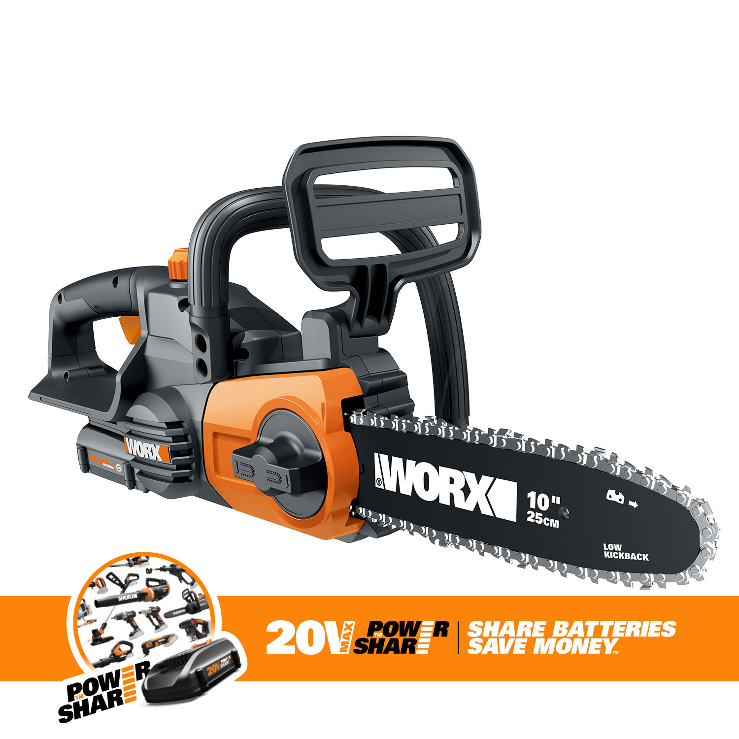 Worx WG322 10-in Cordless 20V Chainsaw with Auto-Tension and Auto-Oiling by WORX