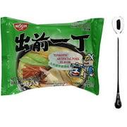NineChef Bundle - NISSIN Demae Ramen Noodle with Soup Base (Tonkotsu Pork Flavor 20 Pack) + 1 NineChef ChopStick
