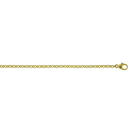 18k Yellow Gold Rolo 2.4mm Chain Necklace - Length: 16 to 30 18k Yellow Gold Necklace