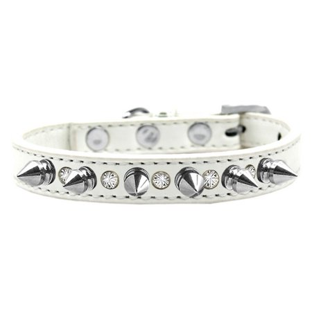 Mirage 625-SV WT12 Crystal and Silver Spikes Dog Collar White - Size - Silver Dog