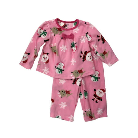 Carters Infant & Toddler Girls Pink Fleece Santa & Snowman Pajamas 12M](Mime Robe)