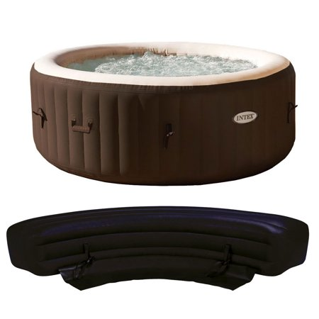 Intex PureSpa 4 Person Inflatable Bubble Jet Portable Hot Tub with Bench Add
