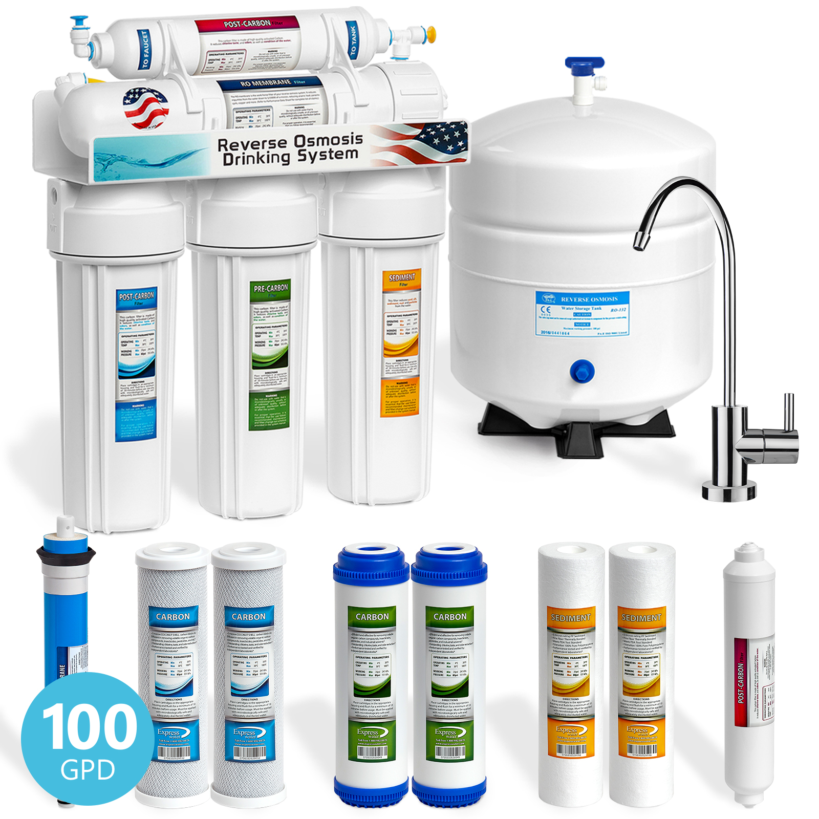 Express Water 5 Stage Home Drinking Reverse Osmosis Water Filtration System 100 GPD RO Membrane - Extra Filters Set - Modern Chrome Faucet - Ultra Safe Residential Under Sink Water Purification System