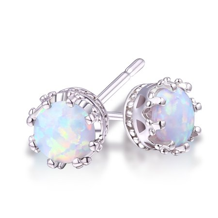 White Enamel 18k Gold Overlay - White Fire Opal Stud Earrings with 18k White Gold Overlay