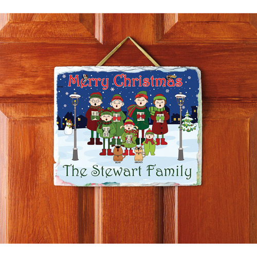 "Personalized Caroling Family Slate, 9"" x 11"""
