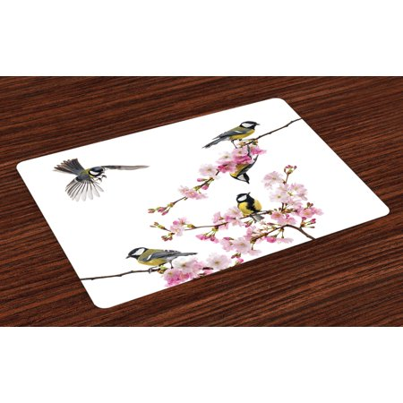 Birds Placemats Set of 4 Group of Cute Hummingbirds on Flowering Branch Best Friends Peace Illustration Home, Washable Fabric Place Mats for Dining Room Kitchen Table Decor,Multicolor, by Ambesonne for $<!---->