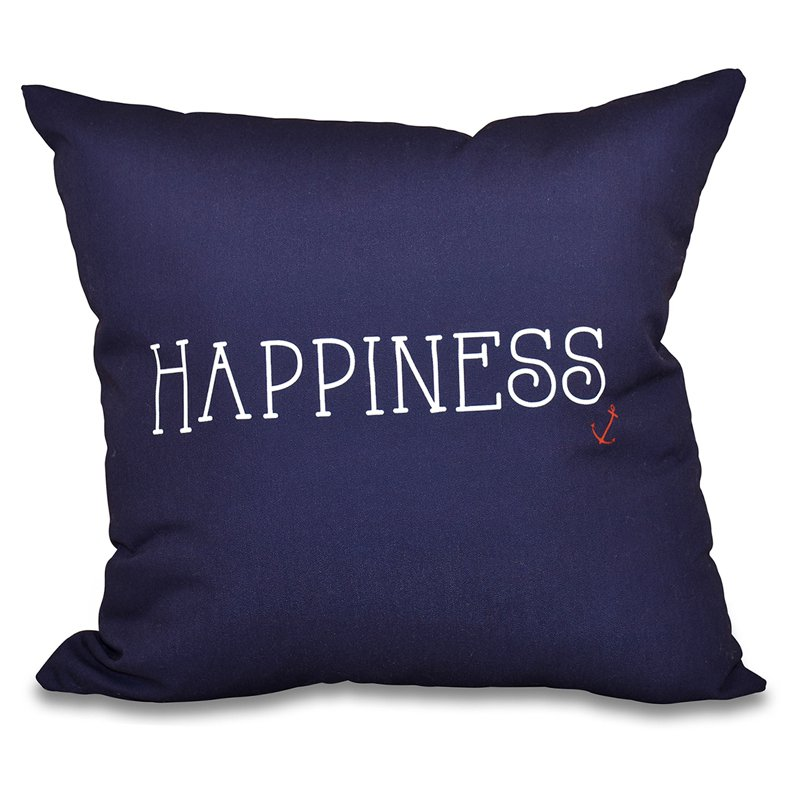 E by Design A Way With Words Nautical Happiness Decorative Pillow