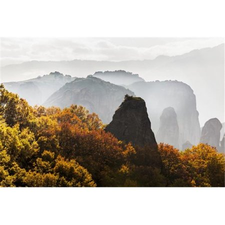 Posterazzi DPI12286685LARGE Low Cloud Around The Rugged Cliffs with Foliage in Autumn Colours - Meteora Greece Poster Print by Reynold Mainse, 38 x 24 - Large - image 1 of 1