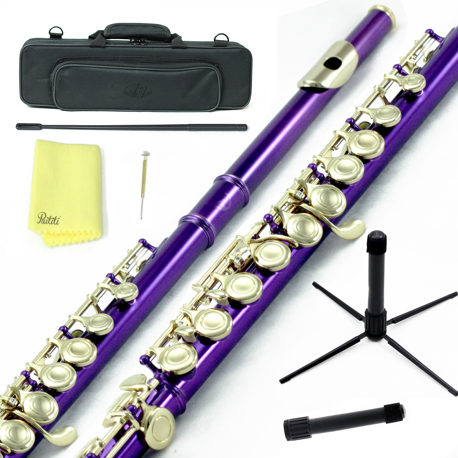 Sky Closed Hole C Flute with Lightweight Case, Cleaning Rod, Cloth, Joint Grease and Screw Driver - Purple/Gold