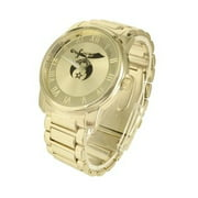 Shrine Dial Watch 14K Gold Tone Stainless Steel Back Roman Numerals Water Resist