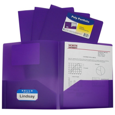 Two-Pocket Heavyweight Poly Portfolio Folder (Set of 18 EA) CLI33959BNDL18EA
