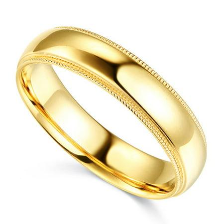 14K Solid Yellow Gold 5MM Plain Regular Fit Milgrain Wedding Band, Size 6