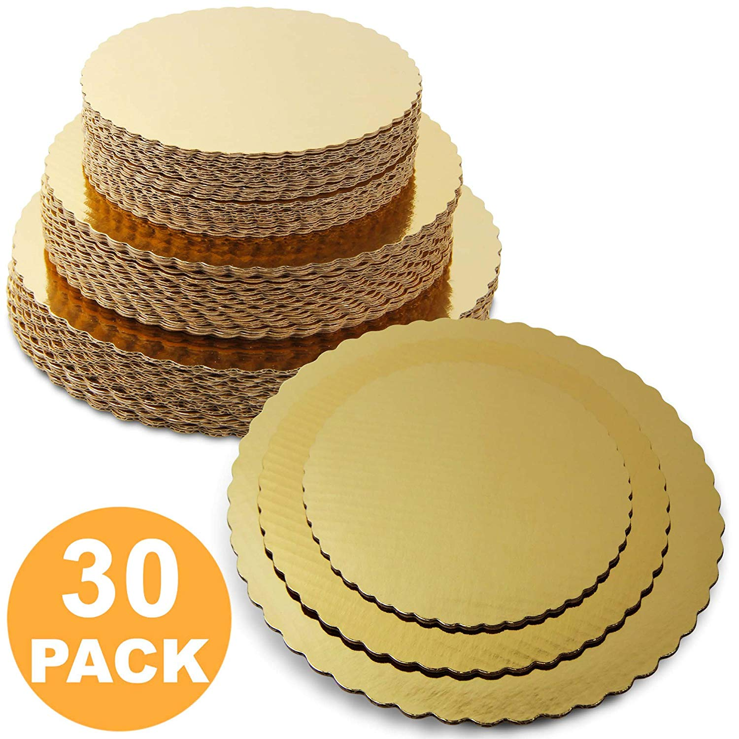 8 10 12 Inches Round Tierd Cake Boards Combo Cardboard Disposable Layered Cake Pizza Circle Scalloped Gold... by