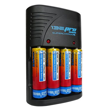 I3epro Bp Sch1 Supercharge Ni Mh Aa Aaa 9V Rechargeable Battery Charger With 4 Aa  2950 Mah  Rechargeable Batteries For Sony Cybershot Dsc H300  Black  Dsc H300 B Dsc  H200 Dsc  S700 Dsc S650