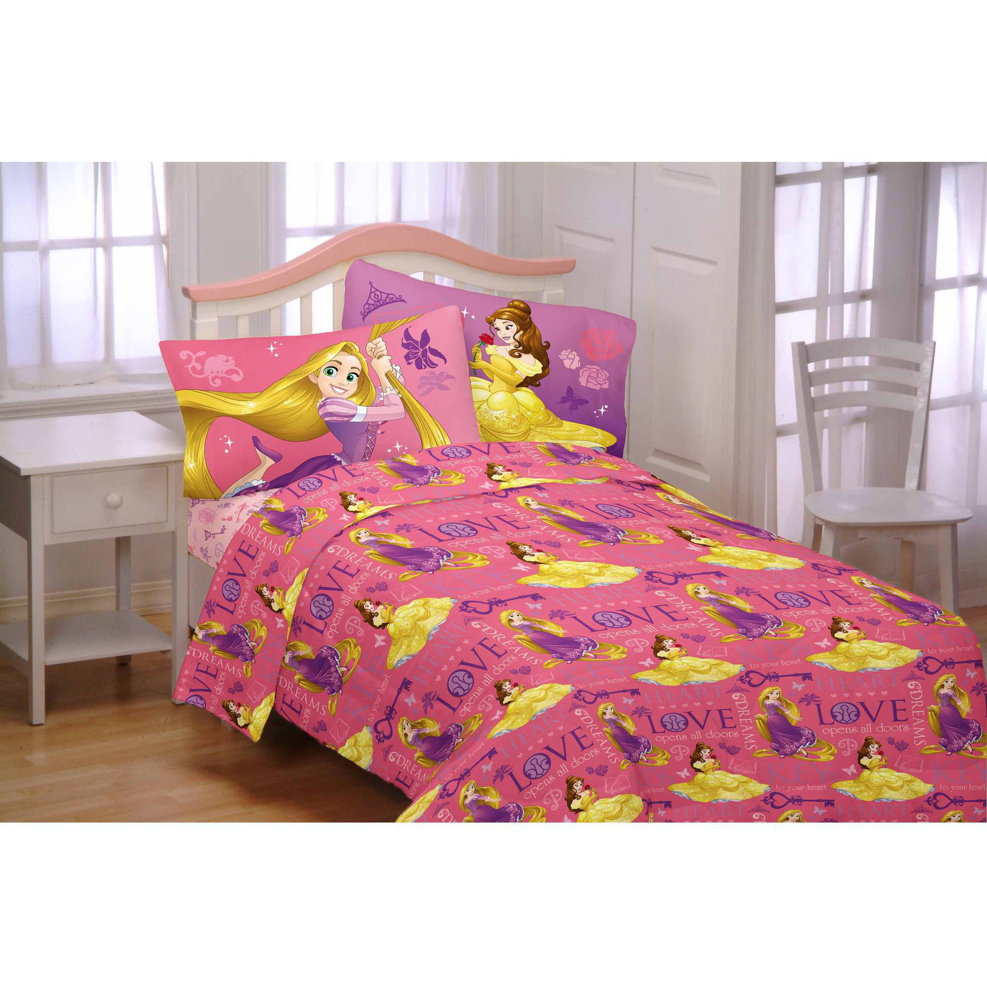 Disney Princess 3-Piece Flannel Twin Sheet Set