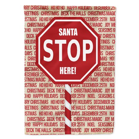 Santa Claus Stop Here Stop Sign Flag Canvas House - Santa Stop Here Sign
